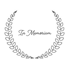 Funeral wreath with In Memoriam label. Rest in peace. Simple flat black illustration
