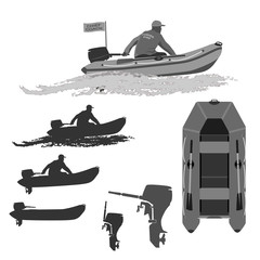 head coach of the club fishermen rides on a rubber boat with a motor. set of silhouettes. totally vector illustration