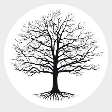 Black silhouette of a bare tree . Vector illustration.