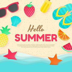 Summer vector background. Paper cut. Can used for banners,Wallpaper,flyers, invitation, posters, brochure. Vector illustration
