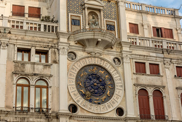 Clock dell'Orologio on St Mark's Square (San Marc) in Venice, Italy. Detail with clock face and astrological Zodiac signs