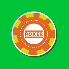 paper sticker on stylish background single poker chips