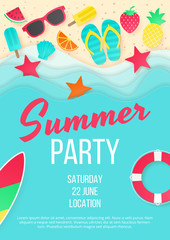 Summer beach party vector background. Paper cut. Can used for banners,Wallpaper,flyers, invitation, posters, brochure. Vector illustration