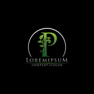 Green Leaf P Letter Logo