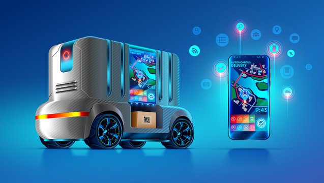 Autonomous driverless van delivers and ships parcels in specified location on map city. Smartphone app displays order information, gps point of self-driving lorry. Future delivery service concept.