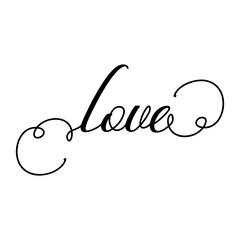 Love - Valentine Day typography. Handwriting romantic lettering. Hand drawn illustration for postcard, wedding card, romantic valentine's day poster, t-shirt design or other gift.