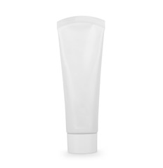A tube with cream or toothpaste on a white background