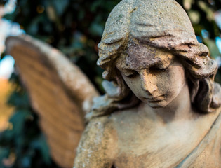 Picture of a sad angel close-up. Symbol of goodness, memory, help and love.