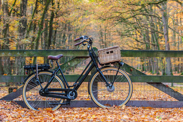 Dutch electric black cargo bicycle with basket