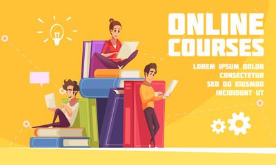 Online Courses Cartoon Advertising