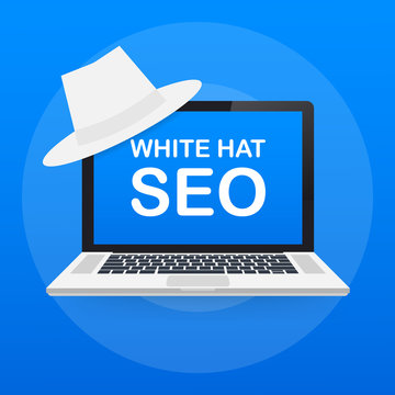 White hat seo banner. Magnifier, and other search engine optimization tools and tactics. Vector illustration.
