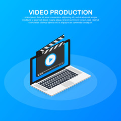 Content production, development, article writing, video. Video production. Vector illustration.