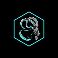 goat hexagonal badge logo vector