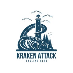 kraken attack vector illustration amazing design for your company or brand