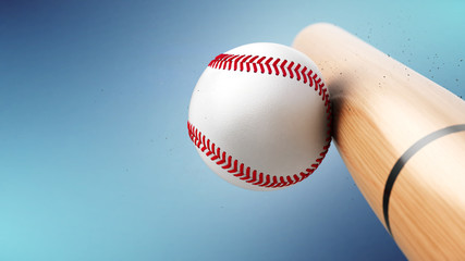 Baseball bat hits baseball ball. Closeup view - 3d rendering