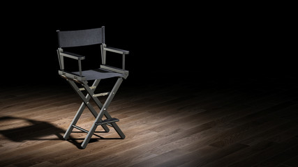 Director Chair in the spotlight. 3d rendering