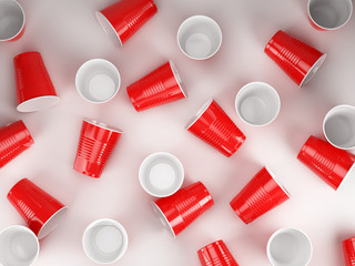 Red disposable cups background - plastic cup on white. 3d rendering