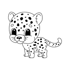 Cheetah. Coloring book for kids. Cheerful character. Vector illustration. Cute cartoon style. Hand drawn. Fantasy page for children. Isolated on white background.