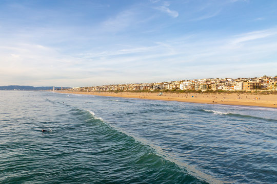A view from the pier of Manhattan Beach, on the Californian coast