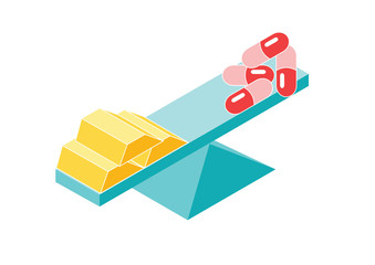 Money and pills, gold and medicine balanced on a bar - vector graphic, cartoon flat style, vector illustration on white background