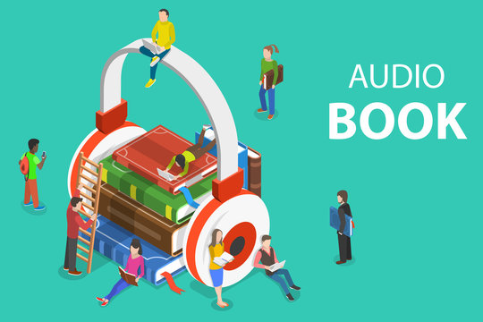 Isometric flat vector concept of audio book, education, literature listening.