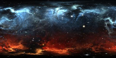 Fototapete - 360 degree space nebula panorama, equirectangular projection, environment map. HDRI spherical panorama. Space background with nebula and stars