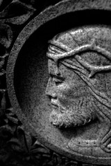 Stone Carving of Christ with Crown of Thorns Christian Christianity