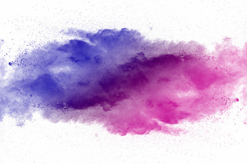 Acrylic Prints Form Explosion of multicolored dust on white background.