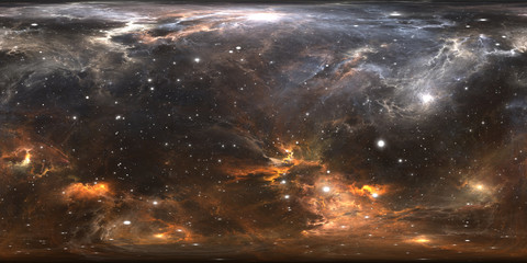 Space background with nebula and stars. Panorama, environment 360 HDRI map. Equirectangular projection, spherical panorama