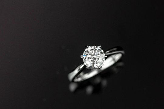 diamond ring on reflection background
