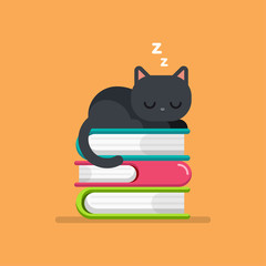 Cute cat sleeping on a Pile of Books, education concept, vector illustration.