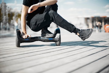 Dual Wheel Self Balancing Electric Skateboard. electrical scooter outdoors