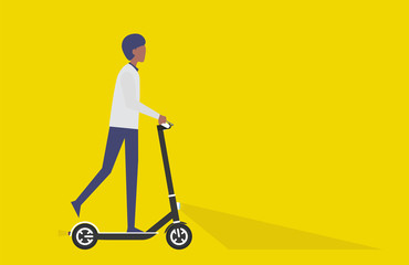 Cartoon picture with black man riding fast modern electric bicycle. Enjoying futuristic bike ride, electric scooter, kick scooter, Eco alternative city transport. Vector illustration.Yellow backgroun