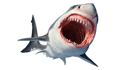 White shark marine predator with big open mouth and teeth. 3D rendering Wall mural