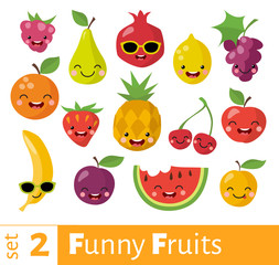 Fruits icons set in flat style with smiling food icons.