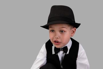 little boy in businessman style