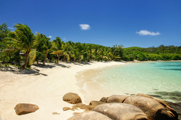 Sandy beach on Drawaqa Island, Yasawa Islands, Fiji