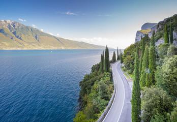 Wall Mural - Scenic road near Limone sul Garda. Garda Lake, Lombardy, Italy