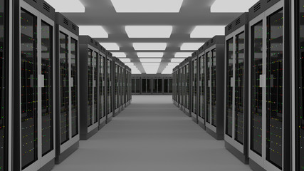 Server room data center. 3D rendering