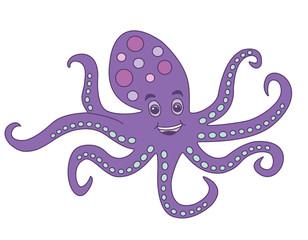 Funny purple octopus