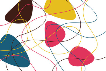 Abstract, background pattern made with curvy, colorful lines and organic geometric shapes. Modern, playful vector art.