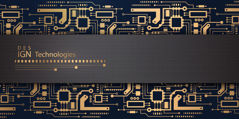 Gold microcircuit - Background.Technologies of the future - vector.