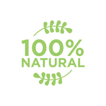 100% natural. Healthy food and healthy life vector icon.