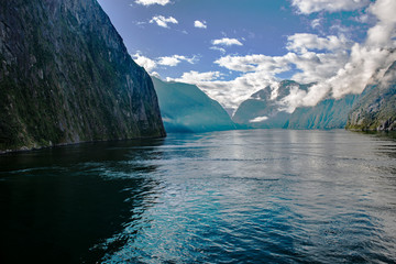 Morning passage through Milford Sound in Fiordland National Park, South Island, New Zealand