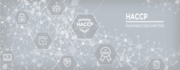 HACCP - Hazard Analysis Critical Control Points icon set and web header banner with award or checkmark