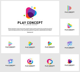 Set of Colorful Play logo design concept. Play logo template vector. Icon Symbol