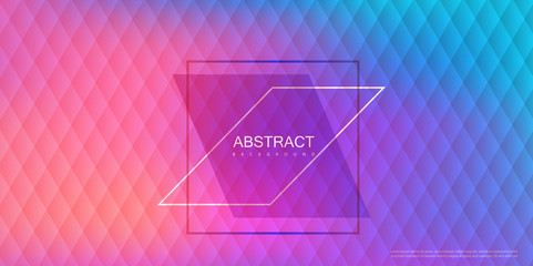 Abstract pink and blue spectrum background with geometric rhombus pattern.