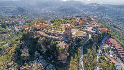 Drone aerial view on with ruins of Kruje castle in Albania