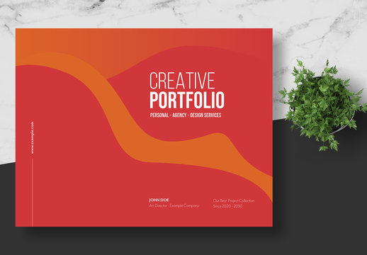 Creative Portfolio Layout with Red Accents