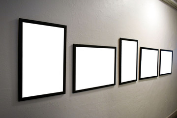 Stock for mocap. Frames for photos or paintings. Frames hang on the wall.